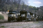 Always a busy location, the west end of Conway yard reveals two Norfolk Southern freights ready to go west
