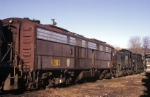 Among the derelicts sitting behind the Juniata shop this day were an EMD E-8A still in Pennsy Tuscan red and a pair of ALCo S-type switchers
