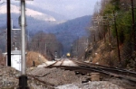 with some snow on the blue ridge mtns csx coal train runs straight track