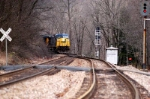 empty coal train comes to green mtn with some snow flurries