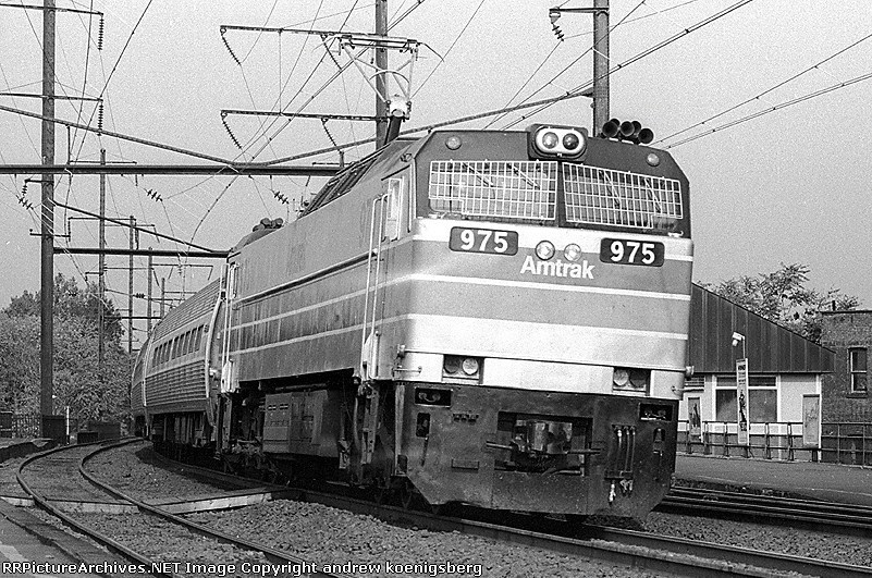 Amtrak GE E-60CH 975 is heading south