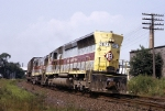 Erie-Lackawanna SD-45 3629 runs a piggybacker hammerhead style eastbound