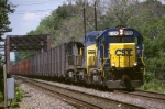 CSX GP-40-2 6156 leads the Tropicana Juice train off the Trenton line and onto the Lehigh line