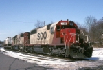 Soo Line SD-40-2 760 shrugs off the New Jersey winter as it heads piggybacks to Kearny