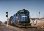 Conrail EMD GP-40-2 3373 has an ALOI (Allentown-Oak Island) rolling passed the ruins of the once mighty Johns Manville plant
