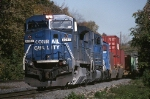 Conrail GE C-40-8W 6067 is easing up to CP-7 with TV-556