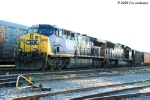 CSX 627 & recent renumber 4576 wait at the north end of the yard with a Yelvington rock train