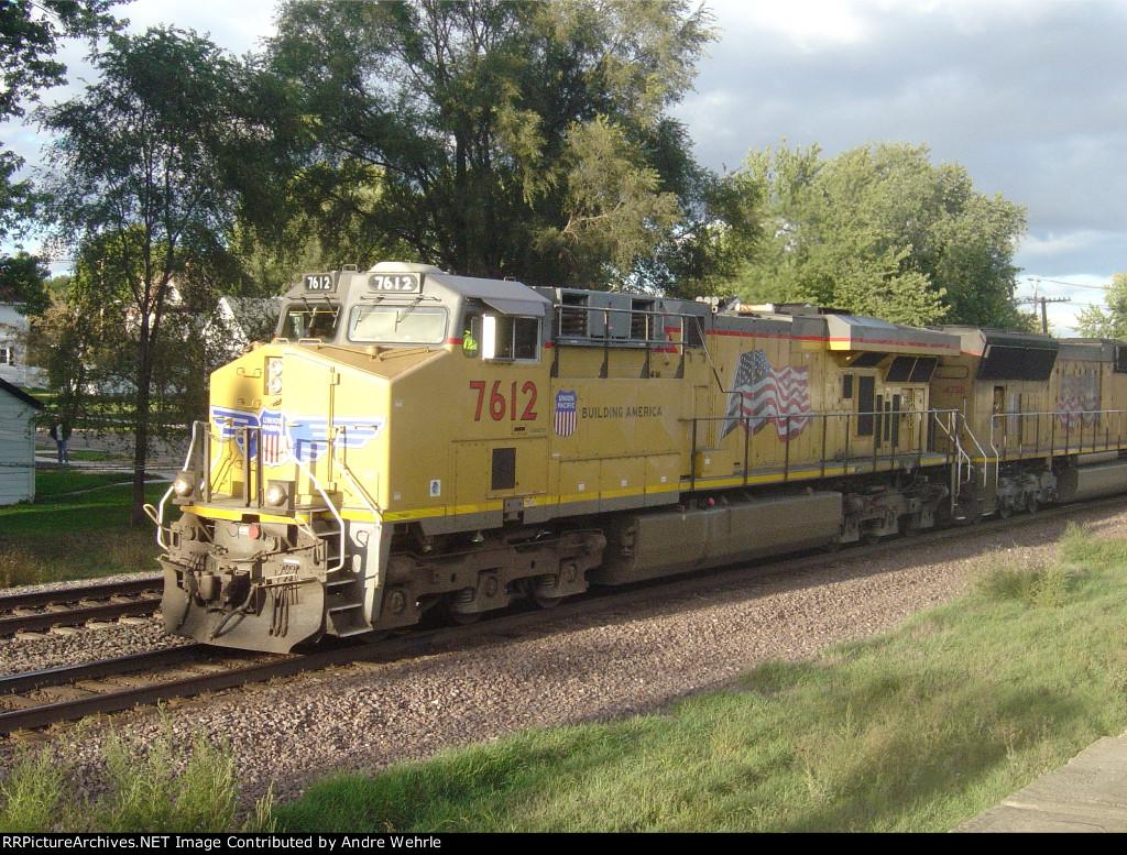 UP 7612 leads a WB intermodal