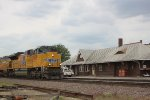 UP 8695 at the depot with an eastbound intermodal