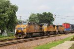 UP 5649 leads a somewhat less overpowered WB intermodal