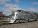 "CB&Q 9911A ""Silver Pilot"" passes the Breaking the Prairie Museum"