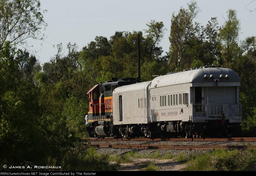 BNSF track geometry train in Westwego, Louisiana
