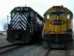MRL 346 Roars past sidlined BNSF 6881