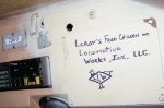 Leroy's Locomotive Works logo in cab of CSX 7360