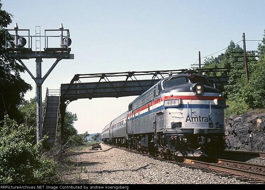 Amtrak EMD FL-9 486 zips along southbound