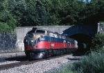 Metro-North EMD FL-9 2021 pushes a southbound commuter train into the short tunnel