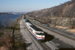 Amtrak Turboliner 151 heads south along the banks of the Hudson River