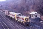 Erie-Lackawanna NW2 419 & homemade slug B-65 move thru the east end of the yard