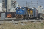 NS 6735, an ex Conrail unit, exits the NS yard in Decatur, Illinois