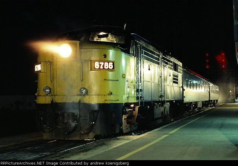 VIA Rail MLW FPA-4 6786 stops to pick up passengers on a cold night
