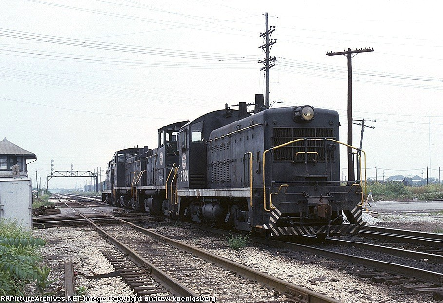 A quartet of Indiana Harbor Belt switchers rolls along the Conrail mainline