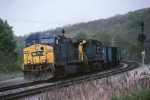 CSX GE AC44CW 305 leads a ballast train eastbound