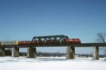 Canadian Pacific MLW M-630 4556 leads 3 other MLW's across the frozen landscape