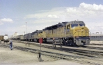 Union Pacific DDA-40X 6941 sits waiting for a new crew under the hot desert sun