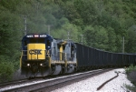 "CSX C-40-8 7540 is moving a ""Coke Express"" west"