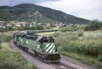Burlington Northern SD-40-2 8011 leads mixed tonnage southbound on the Joint Line