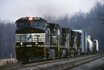 Norfolk Southern C-40-9W 9130 has three other GEs moving tonnage westbound