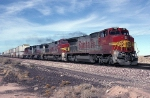 Atchison, Topeka & Santa Fe B-40-8W 502 speeds twinstacks across the desert