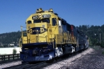 Atchison, Topeka & Santa Fe Electro-Motive Division GP-50 3831 rounds a tight curve