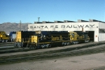 Some really sharp looking Atchison, Topeka & Santa Fe 6 axle EMD's sit outside the diesel shop