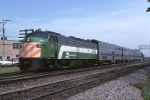 Burlington Northern EMD E9U 9924 heads west