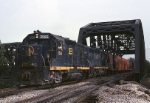 A Baltimore & Ohio EMD team (GP-35/GP-30) cross one of the heavy bridges