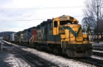 Central Vermont EMD GP-9 4559 is putting together a mixed freight