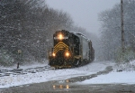 Michigan Southern 907 in a snow squall.