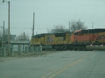 UP 3900 Leads 2 BNSF Units Out Of The Yard