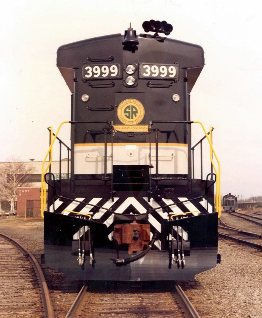 Newly Built Southern Railway GE B23-7 3999 Idles Outside the GE Plant