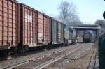 Eastbound CSX passes a couple of locomotives