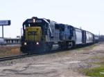 A rare CSX 8710 SD60 leads a train out of Augusta