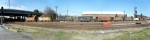Panoramic shot of the whole train strung out on the thoroughfare