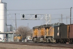 UP 6161 3rd in consist prepares to pass under the signals @ 10:28
