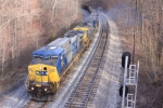CSX 441 pulls the E721 out of the siding on its journey back to the coalfields