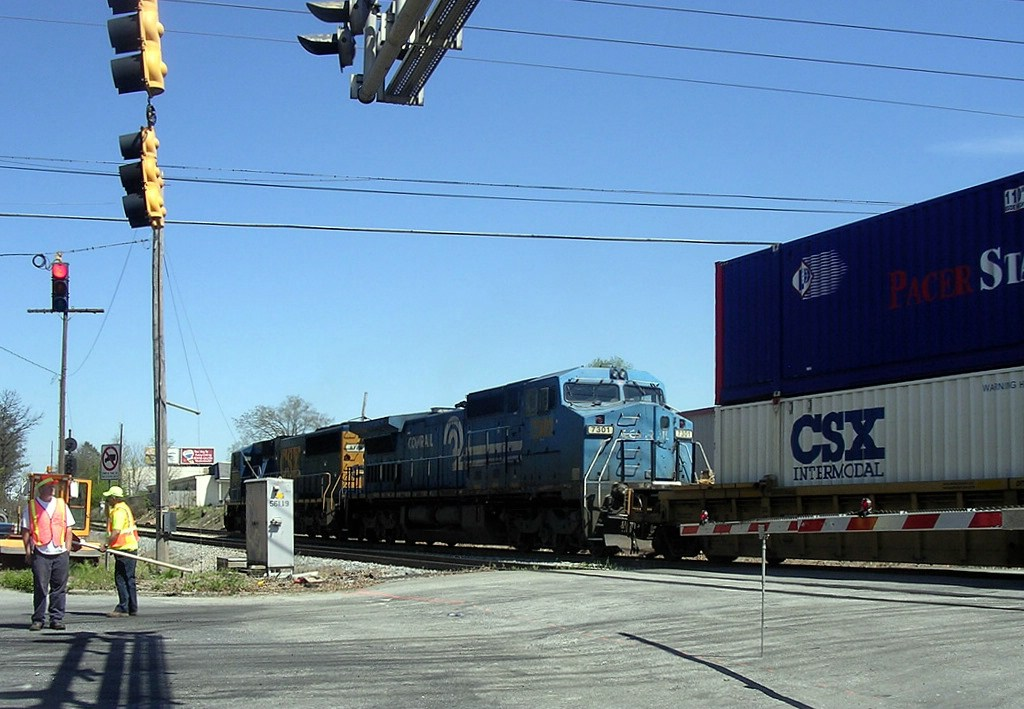 CSX ex Conrail Patched GE CW40-8 7301 Trails on a Northbound Intermodal Train at the Brocket Road Grade Crossing