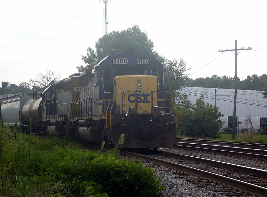 2 CSX GM/EMD SD40-2s Sit Waiting to Move Through the Montreal Road Grade Crossing