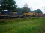 CSX GM/EMD SD40-2 8435 in CSXs YN3 Paint and UP GE C40-8 9104 Sit Waiting to Move Through the Montreal Road Grade Crossing