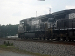 NS GE CW40-9 9260 Idles with a Southbound Manifest by the Big White Tanks at the South End of/Exit to the NS Yard
