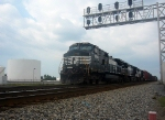 a Southbound Manifest with 3 NS GE CW40-9s Idles by the Big White Tanks at the South End of/Exit to the NS Yard